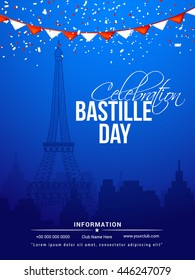 Creative flyer,banner or poster for the French National Day.Happy Bastille Day.