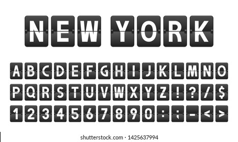 Creative font in airport board style, airline timeboard. Letters and numbers in vintage style, flip flap alphabet. Airport scoreboard, information panel, schedule. Vector