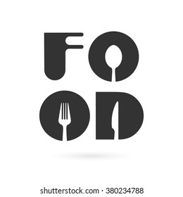 Creative food word logo elements design with spoon,knife and fork.Fast food logo,Food and drink concept.Vector illustration