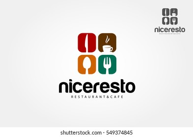 Creative food word logo elements design with spoon,knife and fork. Vector logo illustration