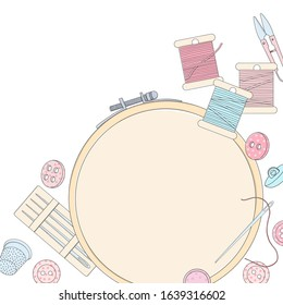 Creative frame with embroidery hoops and sewing accessories on a white background. Embroidery threads, buttons, needles, embroidery frames and a place for your text. Template. Mock up.