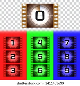 Creative frames countdown to the start numbers. Old film movie timer count. Retro cinema filmstrip count down slides with circle sections timer isolated on grunge background. Colorful vector set.EPS10