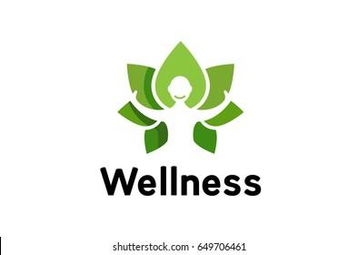 Creative Fresh Body Leaves Logo Design Illustration