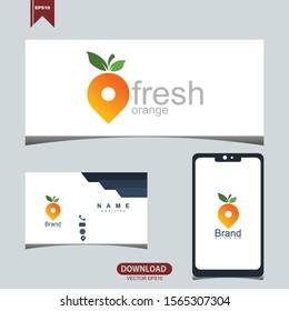 Creative fresh orange fruit concept logo icon vector design
