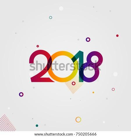 Creative Fun Happy New Year 2018 Stock Vector (Royalty Free ...