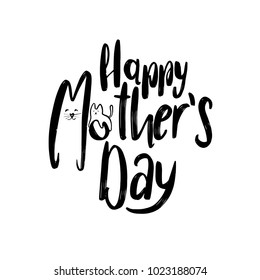 Creative Funny Mother's Day Typographical Background With cats