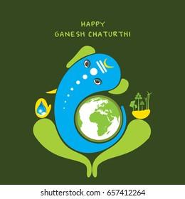 creative ganesha chaturthi or idol ganesha with green or save eenrgy concept design