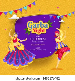 Creative Garba Night poster or invitation card design with couple dancing on abstract bakground and event detail.