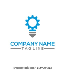 Creative gear and bulb vector logo template for energy, research, and innovation bussiness industry