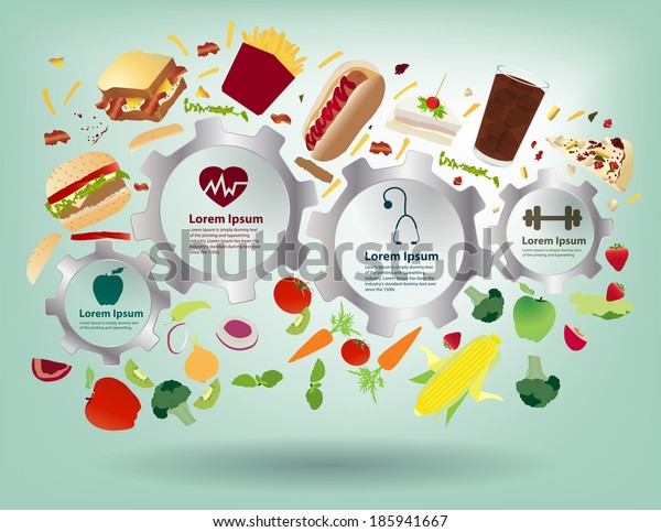 Creative gear info graphic elements, Healthy food concept idea fruits and vegetables with fast food, Modern design template workflow layout, diagram, step up options, Vector illustration