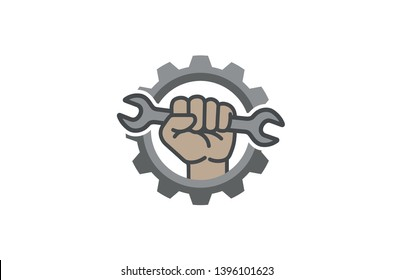 Creative Gear Wrench Fist Inside Logo Design Illustration