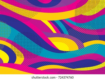 Creative geometric colorful bright background with patterns. Collage. Design for prints, posters, cards, etc. Vector.