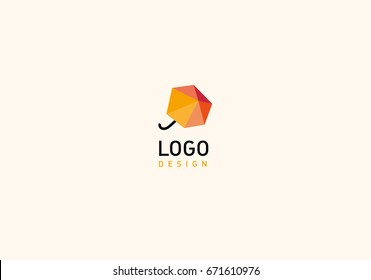 Creative geometric logo abstract umbrella