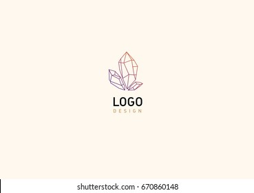 Creative geometric logo colored crystals