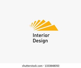 Creative geometric logo icon ladder for interior design studio