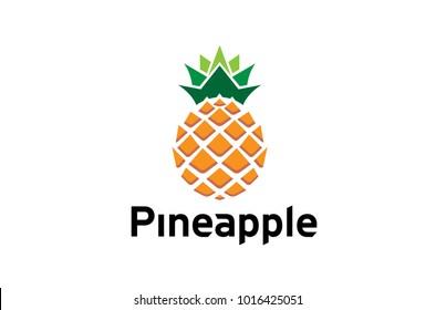 Creative Geometric Pineapple Fruit Logo Design Symbol Illustration