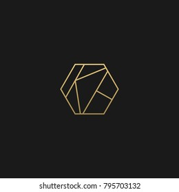 Creative Geometric and polygon style initial based KH golden and black color LOGO
