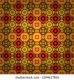 Creative geometric seamless pattern. Vector rectangular design for your business. Yellow, red and orange polygonal illustration consisting of rectangles.