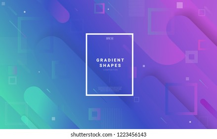Creative geometric wallpaper with square. Trendy gradient shapes composition. Eps10 vector.