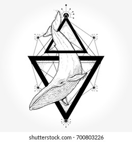 Creative geometric whale tattoo art t-shirt print design. Travel, adventure, outdoors symbol