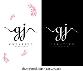 creative gj/jg initial handwriting logo design vector