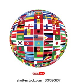 Creative Globe with world flags isolated Isolated on white background