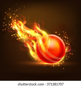 Creative glossy Ball in fire on brown background for Cricket Sports concept.