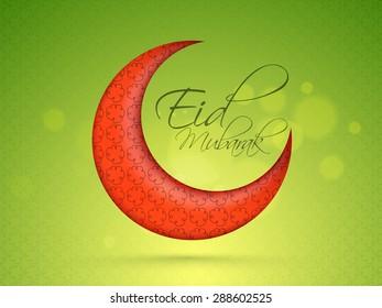 Creative glossy red crescent moon on shiny green background for muslim community festival, Eid Mubarak celebration.