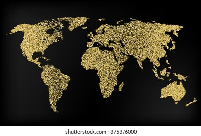Creative gold map of the world for Web and Mobile Applications, illustration, template design, media design and business infographic