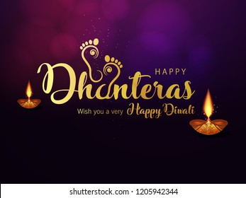 Creative Golden Text for Happy Dhanteras on Traditional Background. Maa Lakshmi Footprint.