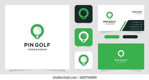 Creative golf design and map marker. logo and business card. Premium Vectors