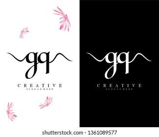 creative gq/qg initial handwriting logo design vector
