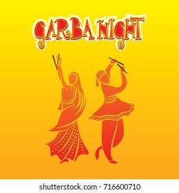 creative graba night, dandiya dance playing in navratri festival poster design