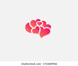 Creative gradient red logo icon of a human brain silhouette in a pattern of hearts.