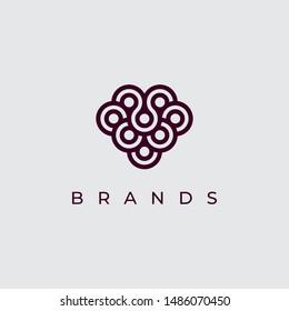 creative grapes icon logo design template