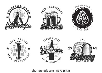 Creative graphic beer logo set. Vector illustration with alcohol label designed to advertising beverage, brewery, bur, pub or restaurant menu.