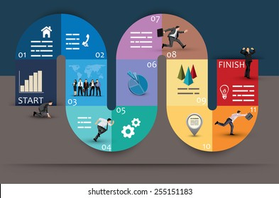 Creative Graphic Design of Conceptual Curvy Business Diagram, Emphasizing Phases or Stages, on Brown and Blue Background.