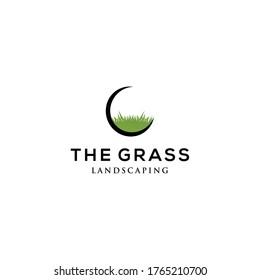 Creative grass logo template design vector illustration