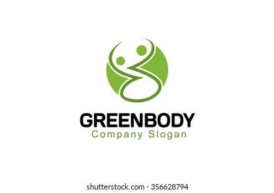 Creative Green Body Circle Logo Symbol Design Illustration