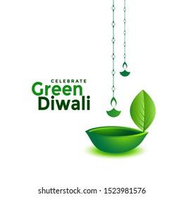 creative green eco diwali leaf diya design background