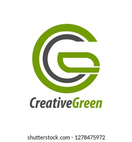 Creative green initial letter CG, GC, C logo concept design template idea