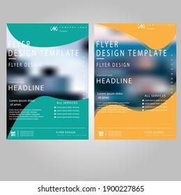 Creative green and orange colour vector flyer template design