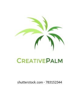 Creative green palm logo design
