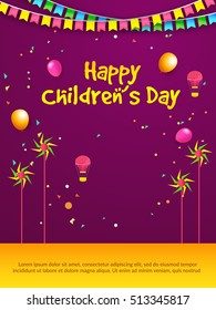 Creative greeting card of children's day celebration.
