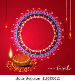 Creative greeting card design for Happy Deepavali Festival celebration on decorative background with floral rangoli design border and Traditional floral diya / burning lamp with Happy Diwali Text