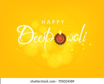 Creative greeting card design for Happy Deepavali Festival celebration on colorful background with floral rangoli design and Line art based floral diya / burning lamp with creative Happy Diwali Text