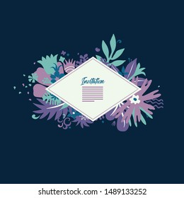 creative greeting card design template with lable and place for text, rich ornate with stylised flowers and plants