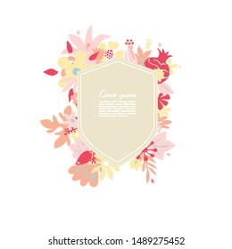 creative greeting card design template with lable and place for text, rich ornated with stylised flowers and plants