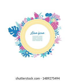 creative greeting card design template with round lable with place for text, rich ornated with stylised flowers and plants