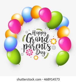 Creative greeting card with stylish typography for celebration of grandparents day .
